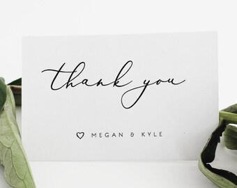 Wedding Thank You Cards Template Printable Thank You Card Etsy