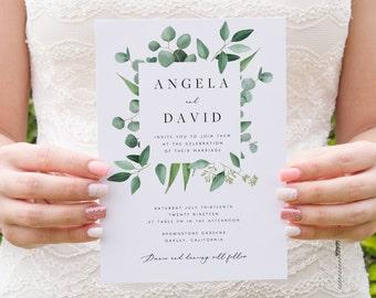 Greenery Wedding Invitation Template Eucalyptus Printable Wedding Invitation DIY Templett PDF Instant Download Editable Rustic Wedding
