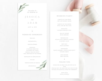Greenery Wedding Ceremony Program Template Olive Branch Wedding Program Printable Green Leaf Wedding Template Wedding Ceremony Edit Yourself