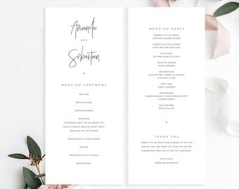 Wedding Ceremony Program Etsy - Simple wedding ceremony program template