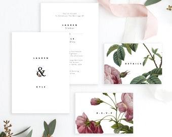 Wedding Invitation Set Template Rose Printable Wedding Invitation Suite DIY Templett PDF Instant Download Editable