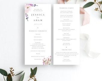 simple wedding ceremony program template modern minimal etsy