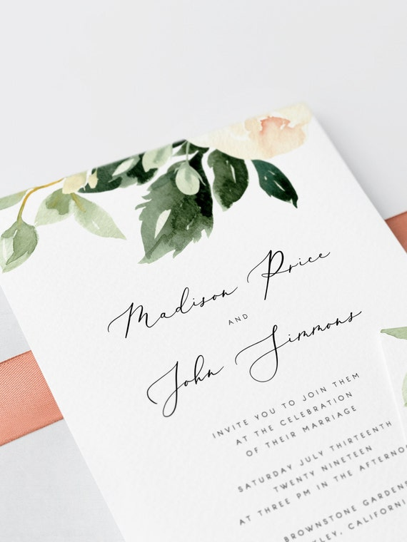 Blush Floral Wedding Invitation Template Pink Flowers Wedding Etsy