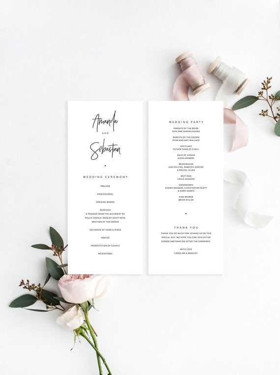 Wedding Ceremony Program Template Modern Minimal Simple Wedding Program Printable Wedding Template Instant Download Wedding Ceremony 09