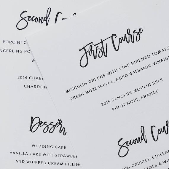 printable simple wedding menu template modern minimal wedding etsy