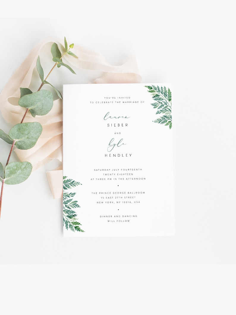 Fern Wedding Invitation Template Green Leaf Invite Printable Ferns Editable In Templett Instant Download Greenery