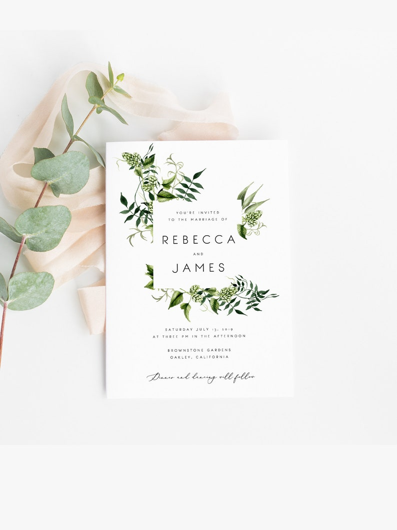 Greenery Wedding Invitation Template Fern Leaves Printable DIY Templett PDF Instant Download Editable Rustic 02