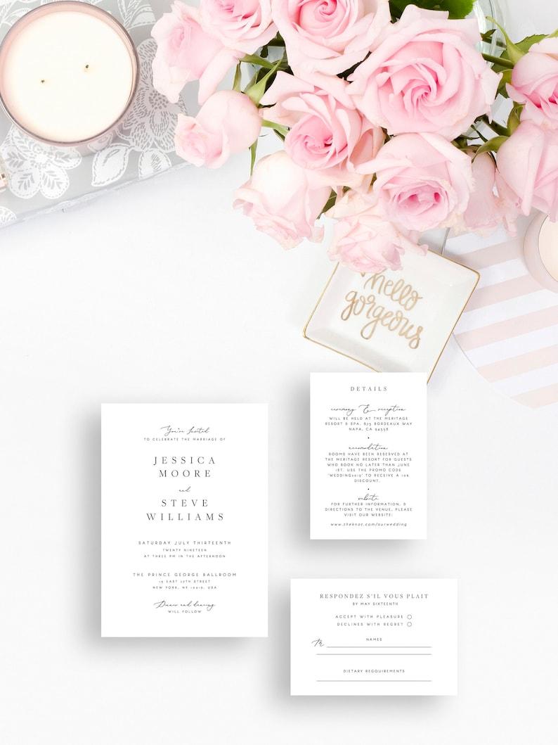 Elegant Wedding Invitation Set Template Gray Printable Wedding Invitation Suite DIY Templett PDF Instant Download Editable 11
