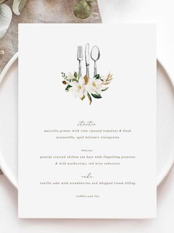 Magnolia Menu Template Knife Fork Spoon Printable Menu Card Vintage Cutlery Menu Silverware Utensils Editable Dinner Menu Vintage 18