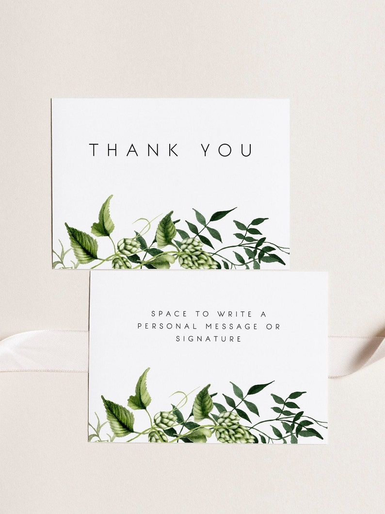 photograph about Printable Thank You Note titled Greenery Thank Oneself Card Template Printable Thank Yourself Be aware Beer Hops Marriage Marriage Want Thank Oneself Tags Marriage Thank Your self Notes A6 4x6 02