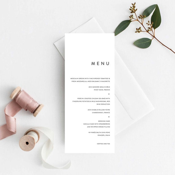 Simple Wedding Menu Template Modern Minimal Wedding Menu Etsy