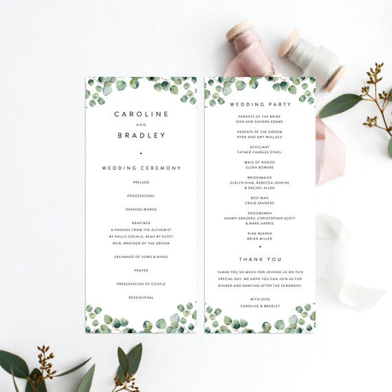 Greenery Wedding Ceremony Program Template Eucalyptus Wedding Etsy