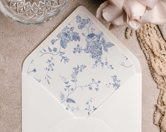 Vintage Floral Envelope Liner Template, Blue Floral, Envelope Liner, Wedding, Flower Envelope Liner, Printable Wedding, Template 43