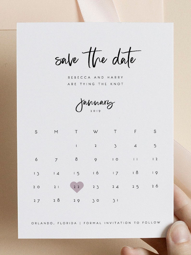 Calendar Save the Date Editable Template Save the Date Template Printable Wedding Template Save Date Magnet Heart Instant Download 13