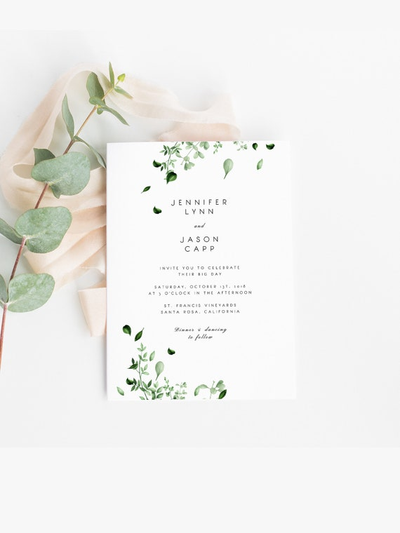 Modern Vines Watercolor Leaves Botanical Wedding Collection Editable Templett Digital Download
