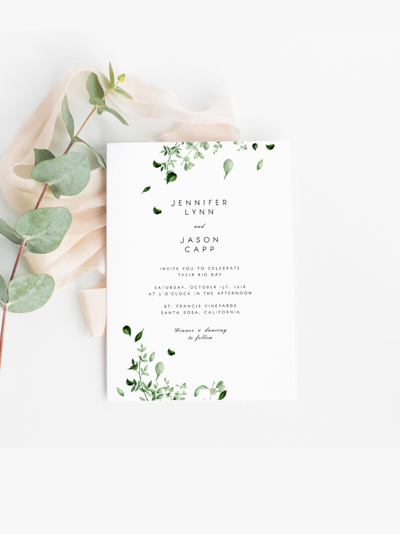 Greenery Wedding Invitation Template Botanical Green Leaves Invite Printable Templett 05