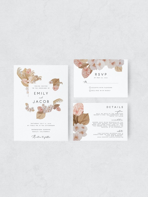 Orchid Wedding Pampas Grass Wedding Template Printable Blush Orchid Modern Wedding Laceleaf anthurium Editable Boho Wedding Invitation 28