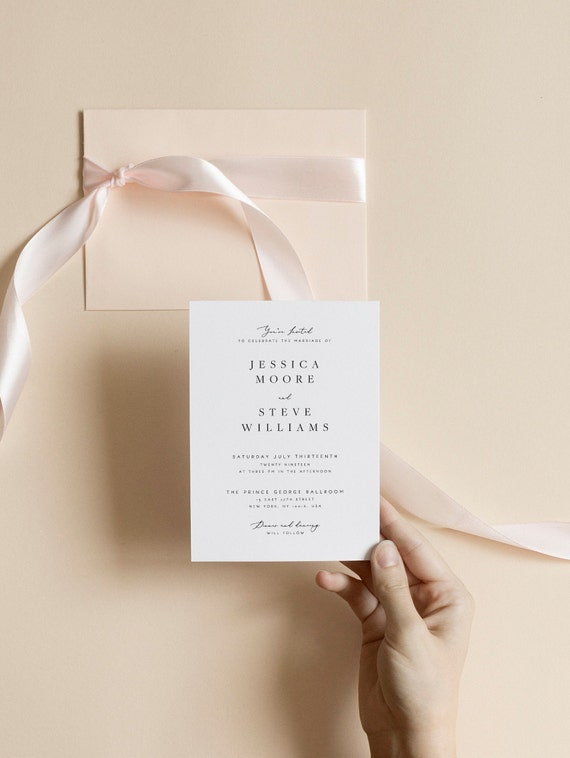 Elegant Wedding Invitation Template Formal Classy Printable Instant Download Edit Text And Colors Yourself Set