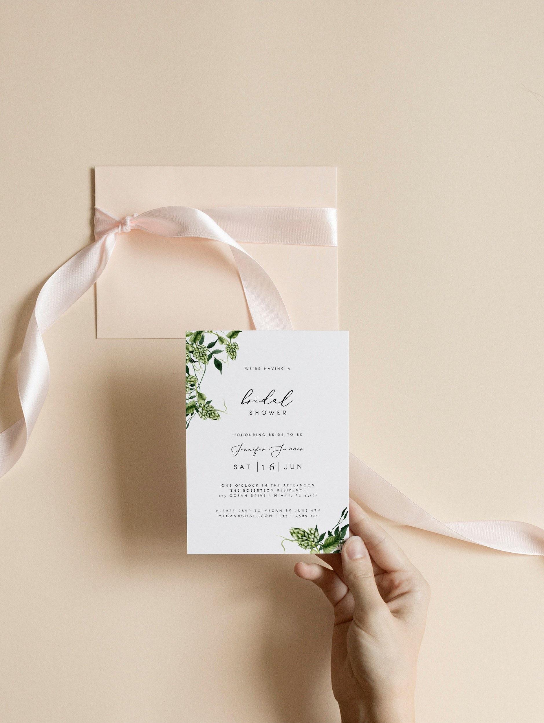 Bridal Shower Invitation Template Printable Wedding Shower Invite Editable  Beer Hops Botanical Leaves Boho Greenery Templett 02