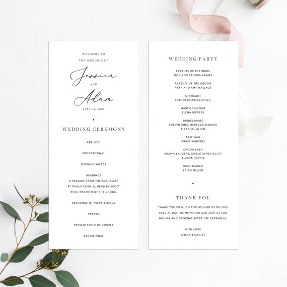 Wedding Ceremony Program Template Modern Minimal Simple Plain Wedding Program Printable Wedding Template Instant Download Ceremony 11