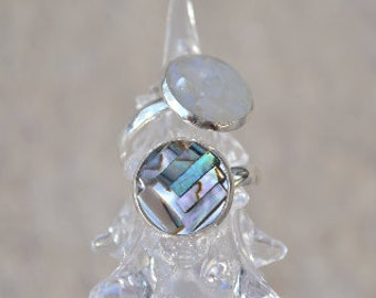abalone and mother of Pearl double ring