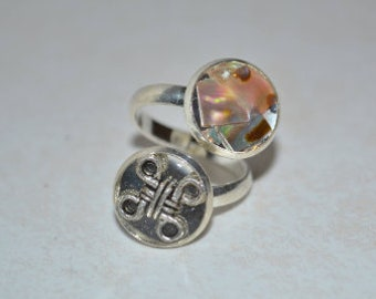 double silver ring and abalone