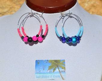 Pink and black rings earrings