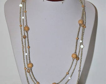 Necklace triple beige / sand