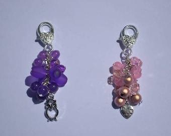 bag charm / Keyring purple OWL