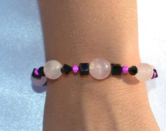 rose quartz and black bracelet