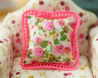 Full Blooming Roses Dollhouse Miniature Pillow 1:12 Scale
