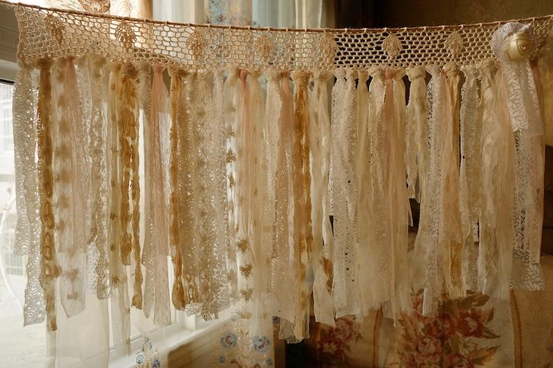 Unique Rustic Pure Romance ANTIQUE Lace Valance Shabby Chic Crochet Lace BOHO Vintage Jute Curtain Banner Wedding Garland
