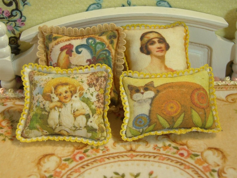 Fine Dollhouse Miniature Pillow Cute Bear with Hat 1:12 Scale