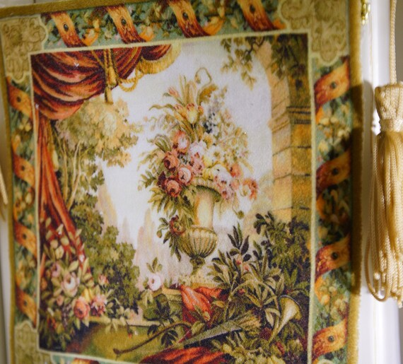 1//12 Scale Dollhouse Still Life Flowers Drape Urn Trees Tapestry
