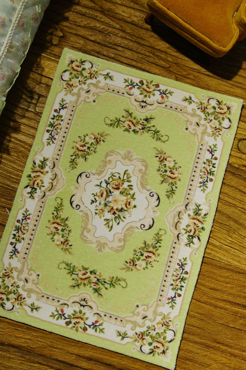 Miniature Beautiful Dollhouse Olive French Victorian Floral Rug 1:12