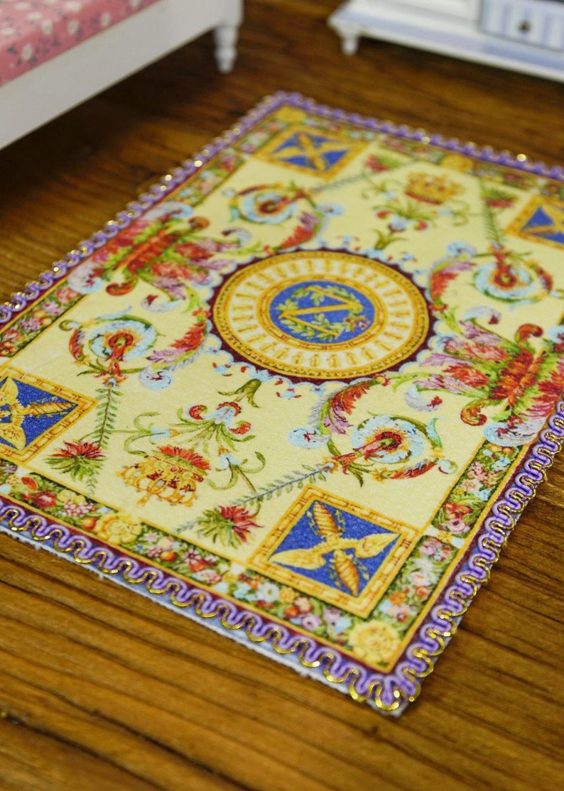 Beautiful Lace Light Blue French Design Miniature Dollhouse Rug 1:12