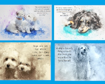 4 Dog Art Printables with Messages   -   Instant  Downloadable    PDF files    A4
