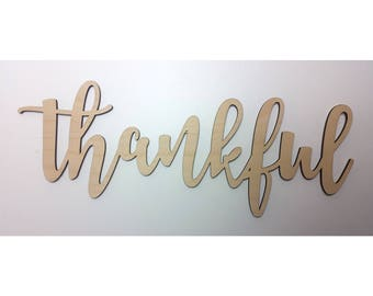 THANKFUL WALL SIGN gifting thankful sign gift for wooden words girlfriend gift for wife gift for daughter gift home decor gift for family