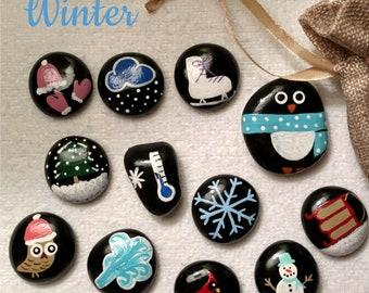 Winter story stones
