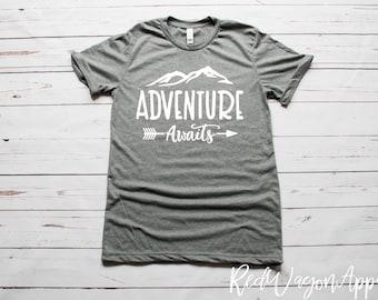 Adventure Awaits   Unisex Jersey Short Sleeve T- Shirt   Adventure Awaits Tee   Adventure T-Shirt   Unisex Sized T-shirt   070