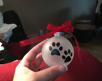 Dog print ornament small