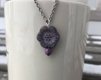 Necklaces for Women, Beaded Necklace, Czech Glass Flower Bead, Necklaces for Girls, Stainless Steel Necklace, Flower Necklaces for Women