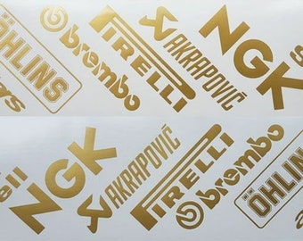 Motorcycle belly pan decals graphics stickers sponsor x 14 angled gold sponsors