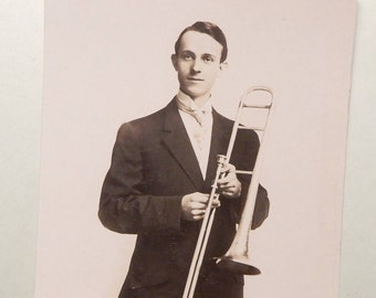 Vintage Photo Postcard - Trombone Player ?