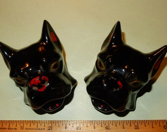Pair of Vintage Dog Ashtrays. Made in Japan.