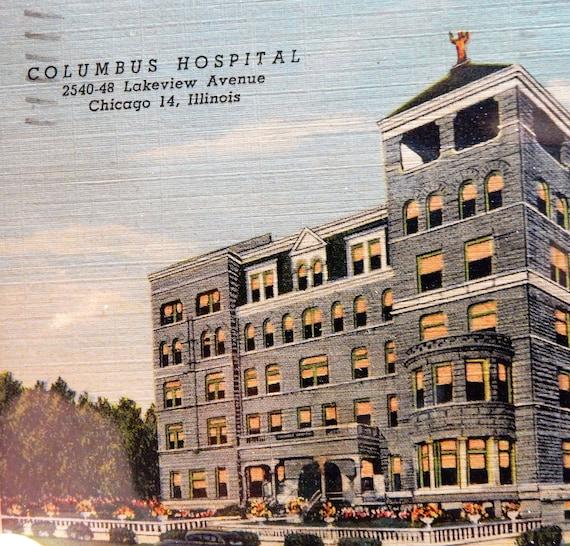 Columbus Hospital Postcard Chicago Illinois 1948