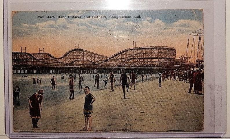 Long Beach 1928 Vintage Postcard. California Jack Rabbit Racer /& Bathers