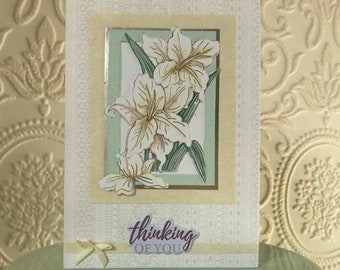 Thinking of you white flower sympathy card