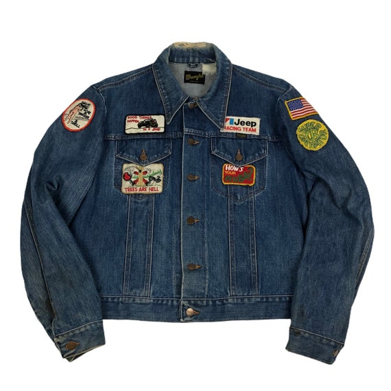Vintage 1970s Wrangler Denim Jacket with Patches M