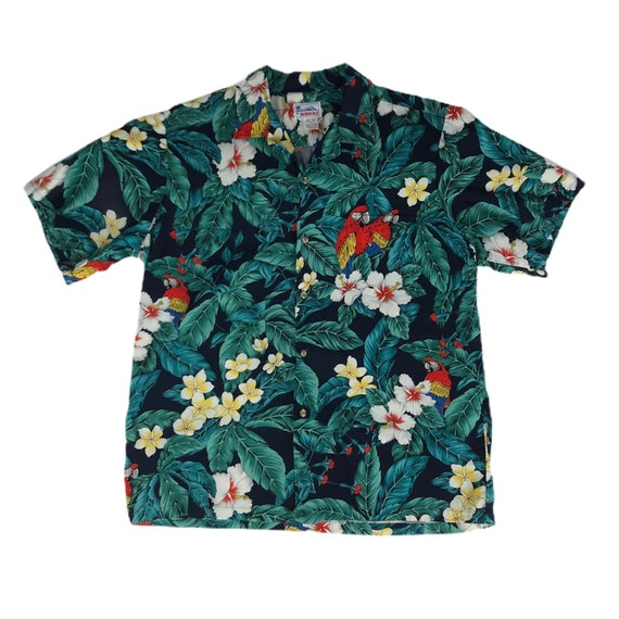 Vintage 1980s Hawaii Brand Hawaiian Shirt Tropical